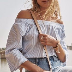 Madewell White & Blue Striped Off The Shoulder Top